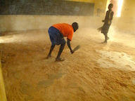 Sweeping classroom floor
